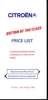 1981 Citroen CX GSA Visa 2CV Brochure Price List