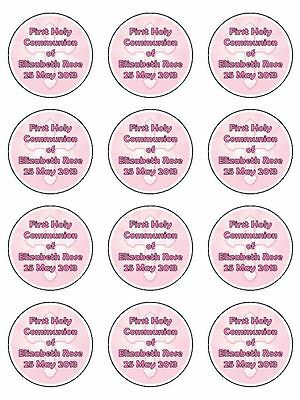 First Holy Communion Personalised Edible Icing CupCake Toppers Girls x 12