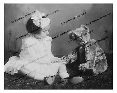Vintage photo-Young girl with teddy bear-8x10 in.