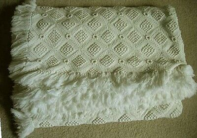 Antique Creamy White Hand Made Crocheted / Fringed Bedspread