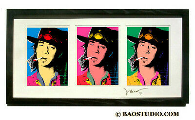 3x stevie ray vaughan - Framed Pop Art Signed Dated