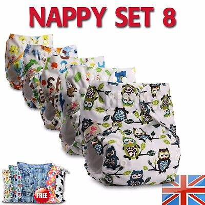 8 Washable Reusable Pocket Standard Cloth NAPPY Diaper +16 Microfibre inserts