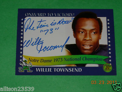 Notre Dame Willie Townsend Signed Card