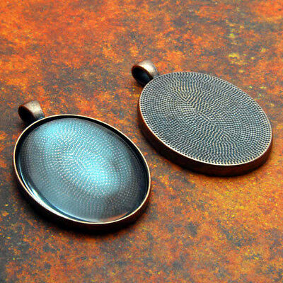 10 QTY - PRO LARGE OVAL ANTIQUE COPPER Photo Pendant Tray Bezel Jewelry & GLASS