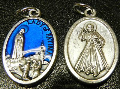 Divine Mercy & Our Lady of Fatima Blue Enamel Medal NEW! Made in Italy