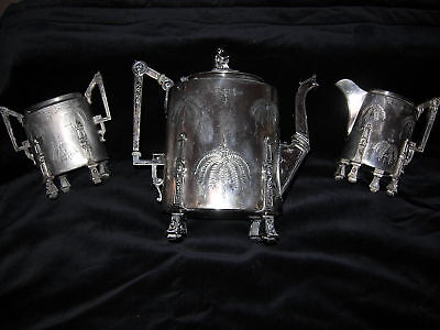 Reed & Barton Aesthetic Movement 1869 Silverplate Tea Set  J T Miller NY