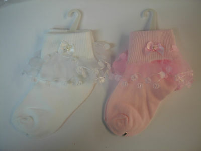 NEW BULK BUY 24 - 40 pair girl frill socks pink/ white