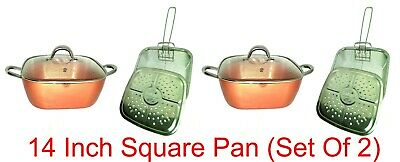 Copper Square Frying Pan Set Buy 1 Get 1 Free Inch,Induction Non Stick