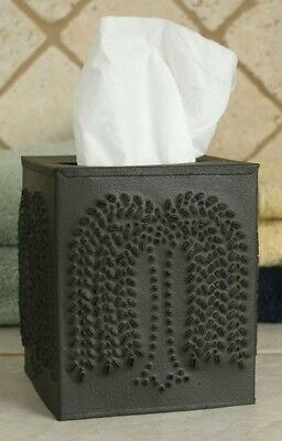 Rustic Early American WILLOW Square Kleenex Tissue Box Cover Hand Punched Tin