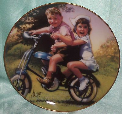 ~ Vintage ~ Signed Hang On Tight Children Franklin Mint Plate ~ Collectable ~