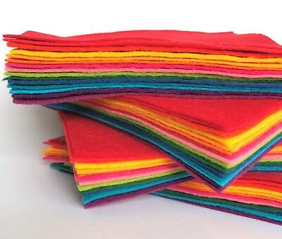Wool Mix Felt 9 in squares x15 Bright Fun Colours Bundle - Soft Craft Felt