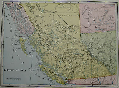 1904 Vintage MAP of BRITISH COLUMBIA  Beautiful COLOR