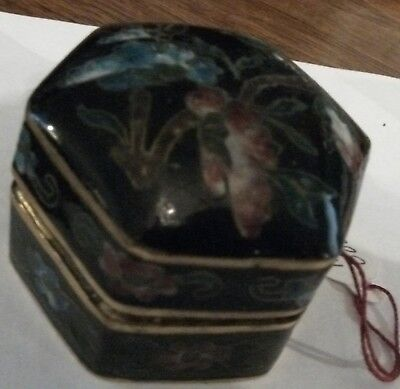 c1890 Cloisonne enamel Asian Oriental Chinese Antique 6 side hinged TRINKET BOX