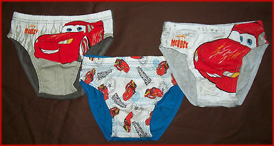 DISNEY CARS Sz 3 4 5 6 7 - 3 pk BOYS BRIEFS UNDERWEAR Undies LIGHTNING McQUEEN