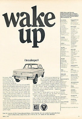 1967 NSU Audi Sedan Classic Advertisement Ad P58
