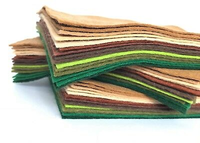 Wool Mix 9 inch Felt Squares x15 Browns & Greens Forest Pack - Soft Craft Felt
