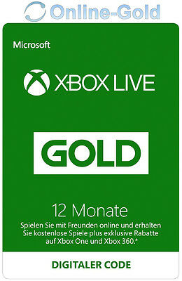12 Month / Monate XBOX 360 Live Gold Mitgliedschaft-Card - XBOX ONE
