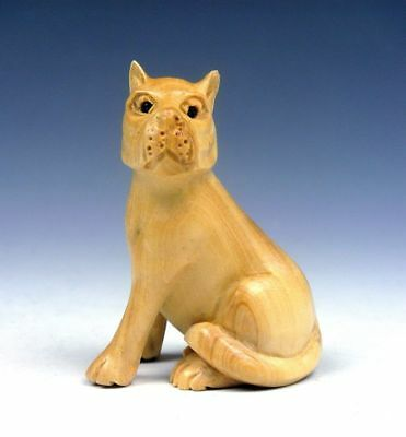 *Ship From U.S* Boxwood Hand Carved Netsuke Sculpture Dog Puppy Sitting Up