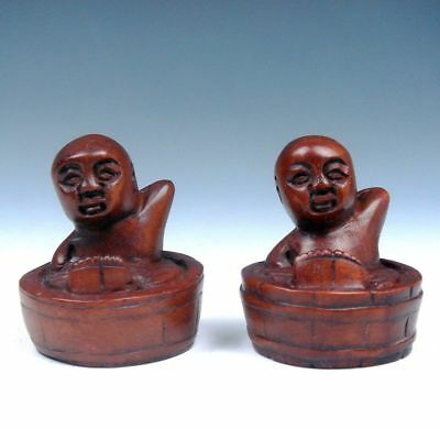 2 Solid Boxwood Hand Carved Netsuke Boy Bathing In Tub