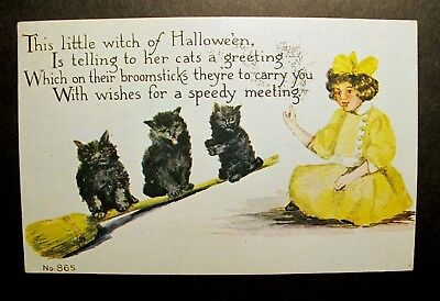 LITTLE WITCH of HALLOWEEN BLACK CATS BROOM Postcard '14