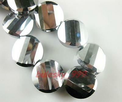 F&P 20pcs Faceted Glass Crystal Tile Bead 18mm Silver