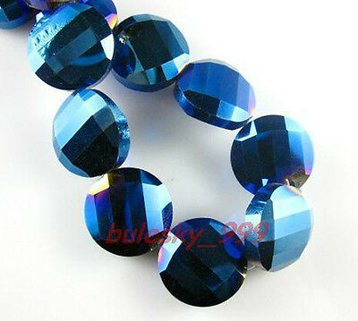 F&P 20pcs Faceted Glass Crystal Tile Bead 18mm M-Blue