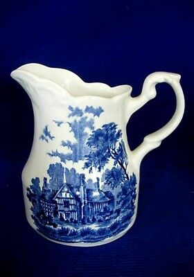Vintage J&G.MEAKIN Herefordshire Romantic Blue Creamer Pitcher - Made in England