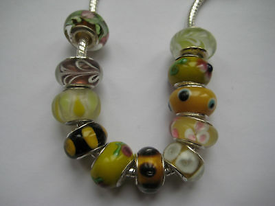 Yellow Glass Beads for European Charm Bracelets