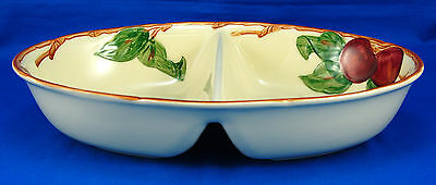 Franciscan APPLE (AMERICAN) Oval Divided Vegetable Bowl 10.75 in. Red Cream