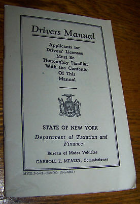 1941 Ny State Car Auto Drivers Manual New York Book