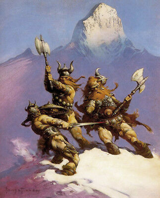 Authentic Frank Frazetta Print #17 SNOW GIANTS 16 X 20