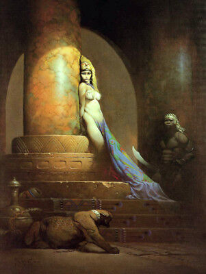 Authentic Frank Frazetta Print #21 EGYPTIAN QUEEN   17 X 22""