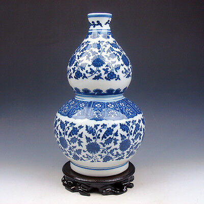 """China Blue&White Porcelain Floral Painted Bottle Gourd Large Vase 11"""" FREE STAND"""