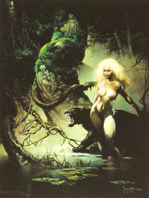 Authentic Frank Frazetta Print PRINCESS AND THE PANTHER  17 x 23""