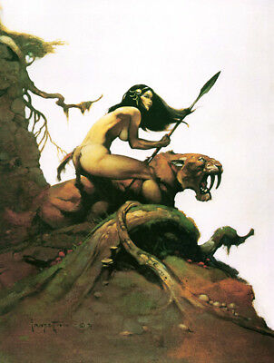 "Authentic Frank Frazetta Print ""SAVAGE PELLUCIDAR"" #38  18 X 23"""