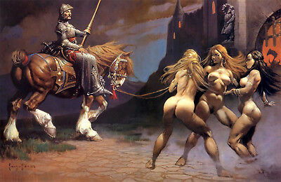 "Authentic Frank Frazetta Print ""PLAYBOY"" # 127 15X24"