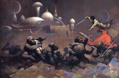 Authentic Frank Frazetta Print JOHN CARTER & SAVAGE APE #55  23 X 17""