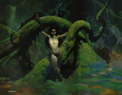 "Authentic Frank Frazetta Print ""CAT GIRL"" #125  17 x 22"""