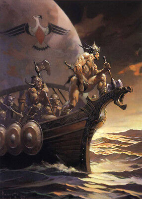 Authentic Frank Frazetta Print KANE ON THE GOLDEN SEA  #99  17 X 23""