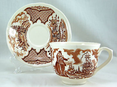 Alfred Meakin FAIR WINDS BROWN Flat Cup and Saucer Set 2.75 in. Sailors Farewell