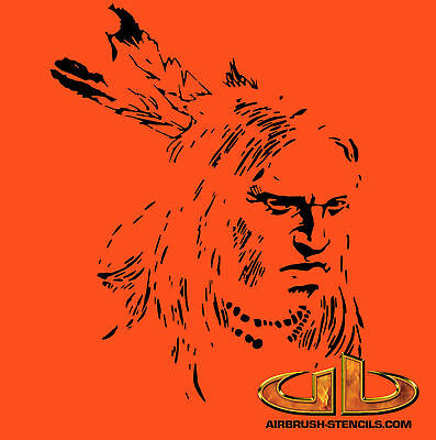 WARRIOR 12 western airbrush stencil template motorcycle chopper paint W12