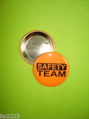 "SAFETY TEAM BUTTON Badge 2-1/4"" w/Pinback Orange NEW"