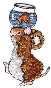 Mouse & Goldfish Embroid Iron On Applique Patch 154373