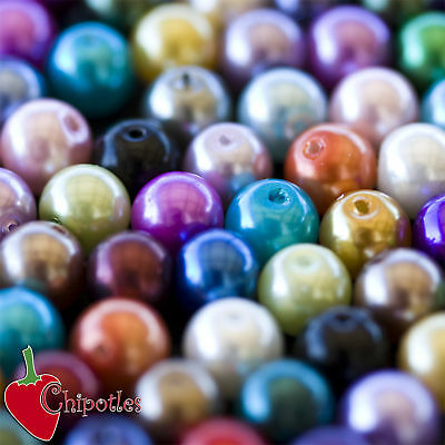 50 PERLE perline BEADS vetro cerato 8mm ASSORTITE