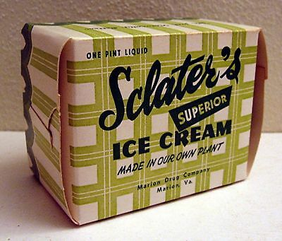 Old Sclater's Plaid Ice Cream Carton Marion Drug Va