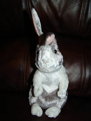 """11"""" Applause Grey and White Bunny Rabbit Beanie Doll"""