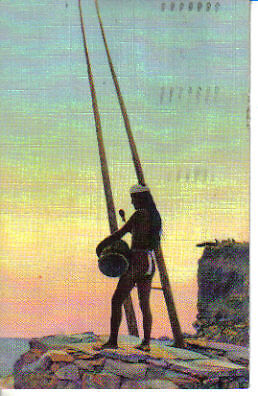Linen Native American CALL of The CLAN Indian Postcard