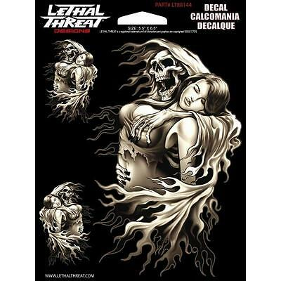 LETHAL THREAT Motorcycle Bike Car Board Decal Helmet Sticker REAPER GIRL LT88144
