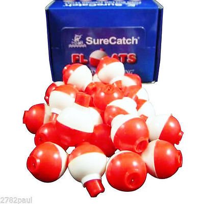 24 x PUSH BUTTON FISHING FLOATS -RED/WHITE 1 INCH - NEW