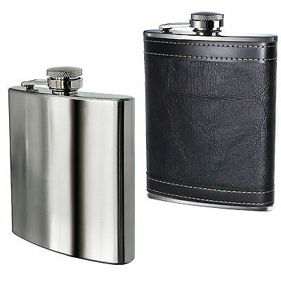 Hip Flask 8oz Stainless Steel or Leather Effect Christmas Gift Camping Party UK